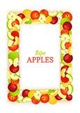 Le rectangle vertical a coloré le cadre composé de fruit de pomme Delicious Illustration de carte de vecteur Cadre de cadre de po Photographie stock
