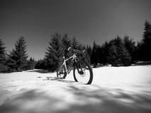 Le recyclage en montagnes neigeuses d'hiver sur le grand pneu roule le vélo de montagne Images stock