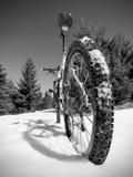 Le recyclage en montagnes neigeuses d'hiver sur le grand pneu roule le vélo de montagne Images libres de droits