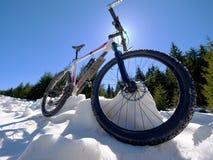 Le recyclage en montagnes neigeuses d'hiver sur le grand pneu roule le vélo de montagne Image stock