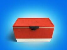 Le refroidisseur 3d rouge de réfrigérateur de plage rendent sur le fond de gradient illustration libre de droits