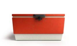 Le refroidisseur 3d rouge de réfrigérateur de plage rendent sur un fond blanc illustration stock