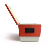 Le refroidisseur ouvert 3d rouge de réfrigérateur de plage rendent illustration de vecteur
