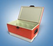 Le refroidisseur ouvert 3d rouge de réfrigérateur de plage rendent sur un backg de gradient illustration stock