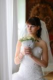 Le regard de mariée à l'hublot Photo stock