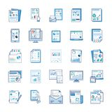 Le relazioni di attivit?, l'analisi statica, rapporto finanziario, icone piane imballano illustrazione di stock