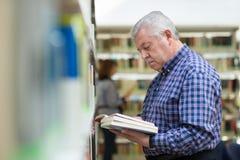 Le relevé de vieil homme et livre de choix dans la bibliothèque Photo libre de droits