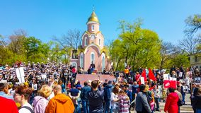 Ship embankment on may 9. Many people celebrate victory Day