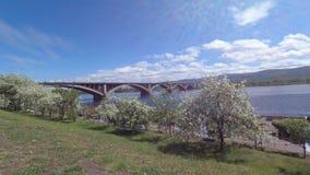 Le remblai de la rivière Yenisey et le pont communal banque de vidéos
