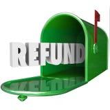 Le remboursement Word reçoivent l'impôt arrière de la livraison de boîte aux lettres d'argent Photographie stock libre de droits