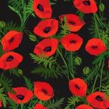 Le remous abstrait fleurit la texture sans couture de pavot Image libre de droits