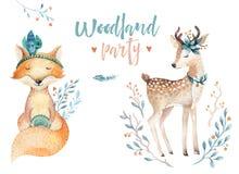 Le renard de bébé et l'animal mignons de cerfs communs pour le jardin d'enfants, crèche ont isolé l'illustration pour des enfants Image libre de droits