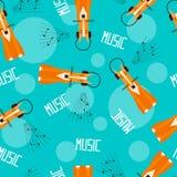 Le renard mignon de bande dessinée apprécie la musique dans des écouteurs Patternl sans couture Photographie stock libre de droits