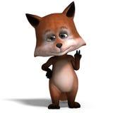 Le renard mignon de dessin animé est très intelligent et intelligent Photographie stock