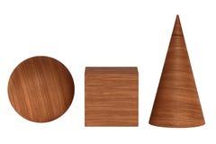 Le rendu d'acajou en bois 3D figure shadowless géométrique d'isolement sur le blanc Photos libres de droits