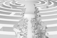 le rendu 3d d'un labyrinthe rond blanc avec une route directe a coupé juste au centre dans la fin vers le haut de la vue Images stock