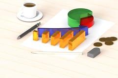 le rendu 3d de avec succès rapportent le graphique sur le livre blanc et la table en bois avec des pièces d'or et avec l'équipeme Images libres de droits