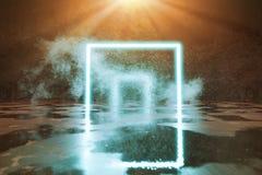 le rendu 3d de cyan éclairent la forme carrée et le faisceau lumineux orange illustration libre de droits