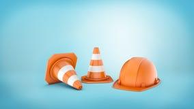 le rendu 3d de deux a barré les cônes et le casque de route sur le fond bleu Photos libres de droits