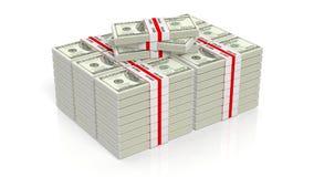 le rendu 3D de 100 dollars de billet de banque empaquette des piles Image libre de droits