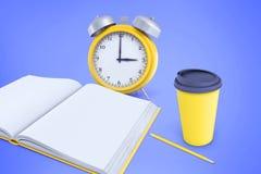 le rendu 3d de l'les alarmes jaunes se tient près d'une tasse de café jaune, d'un crayon et d'un carnet sur un fond pourpre illustration libre de droits