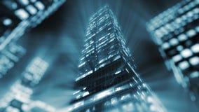 le rendu 3D des bâtiments modernes enlighted avec des fusées de lense Image libre de droits