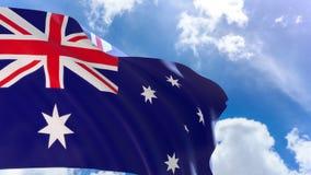 le rendu 3D du drapeau d'Australie ondulant sur le fond de ciel bleu avec le canal alpha peut changer le fond plus tard illustration stock