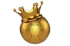le rendu 3d du football d'or avec une couronne de roi sur le dessus, est Photos stock