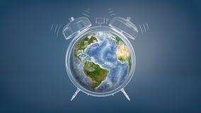le rendu 3d du globe coloré de la terre a employé un visage d'horloge d'un réveil de sonnerie dessiné par craie Photographie stock
