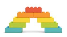 le rendu 3d du jouet multicolore bloque composer un pont en arc-en-ciel illustration libre de droits