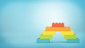 le rendu 3d du jouet multicolore bloque composer un pont en arc-en-ciel illustration stock