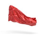 le rendu 3d du morceau de vêtements rouges de satin vole dans le ciel d'isolement sur le fond blanc Image stock