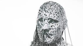 le rendu 3d du visage de cyborg sur le fond blanc représentent l'intelligence artificielle La future science, technologie moderne illustration libre de droits