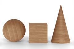 Le rendu 3D en bois figure géométrique avec des ombres sur le blanc Photographie stock libre de droits