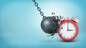 le rendu 3d d'un grand fer noir détruisant la boule se casse en frappant un grand réveil rouge Images libres de droits