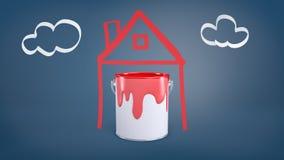 le rendu 3d d'un seau avec la peinture rouge se tient à l'intérieur d'une photo simple d'une maison près d'une photo des nuages s Images libres de droits