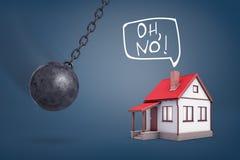 le rendu 3d d'une boule de destruction géante balance en direction d'une petite maison qui s'attend à des problèmes Photo stock