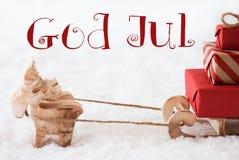 Le renne avec le traîneau sur la neige, Dieu juillet signifie le Joyeux Noël Photo stock