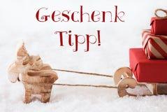 Le renne avec le traîneau sur la neige, Geschenk Tipp signifie l'astuce de cadeau Photo libre de droits