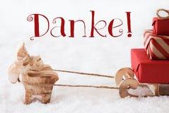 Le renne avec le traîneau sur la neige, moyens de Danke vous remercient Image stock