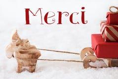 Le renne avec le traîneau sur la neige, moyens de Merci vous remercient Photo stock