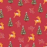Le renne d'arbres de Noël tient le premier rôle la répétition sans couture illustration de vecteur