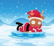 Le renne de Santa au-dessus de l'iceberg Photos libres de droits