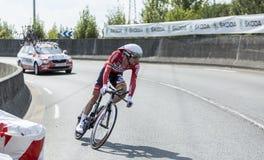Le repaire Broeck - Tour de France 2014 de Jurgen Van de cycliste Image libre de droits