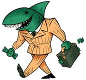 Le requin d'affaires a isol? illustration stock