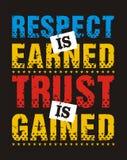 Le respect est gagné la confiance est gagné, image de vecteur Illustration Stock