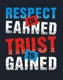 Le respect est gagné la confiance est gagné, image de vecteur Images libres de droits