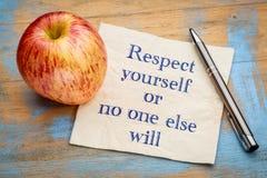 Le respect vous-même ou personne d'autre va le faire images stock