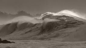 Le ressac de tempête de monstre ferme la baie de Waimea Photographie stock