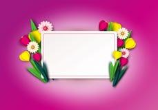 Le ressort de coupe de papier fleurit la tulipe et les camomilles Calibre pour la carte de voeux, fond de vacances Style de Paper illustration de vecteur